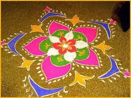 beautiful rangoli of colours